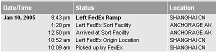 FedEx information for my iPod