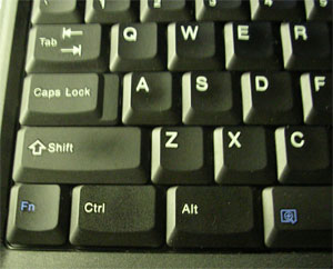 The lower left corner of a Thinkpad keyboard. Notice the lack of a Windows logo key.