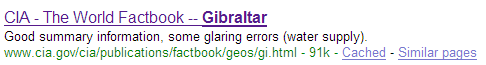 The CIA Factbook's entry on Gibraltar