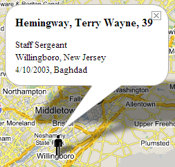 Terry Wayne Hemingway, as shown through the Iraq War Casualties Map.