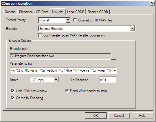 Encoder tab in the Settings dialog for CDex with options set for FAAC encoding.