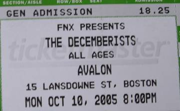 Picture of a ticket to the Decemberists' October 10 concert in Boston.