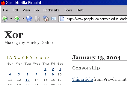 This website in January 2004, located somewhere else, under some other name, running some other kind of online publishing software, and displayed in Mozilla Firebird.