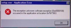 An error dialog on a Windows Vista Beta 2 installation screen