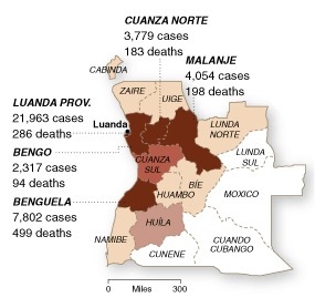 A graph of deaths from cholera in Angola. Adapted from http://graphics8.nytimes.com/images/2006/06/16/world/0616-for-webCHOLERAch.gif.