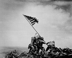 The flag raising on Iwo Jima. Original source: http://www.archives.gov/education/lessons/lincoln-memorial/images/iwo-jima-flag.gif