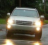 A car's headlights.