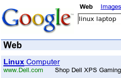Dell advertising on Google for Linux