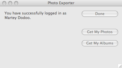 Photo Exporter 0.0.1 on Mac OS X.