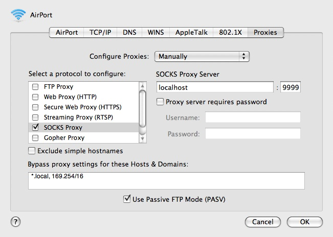 Configuring a SOCKS proxy in OS X 10.5's System Preferences.