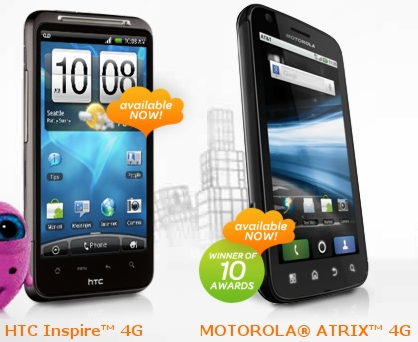 Picture of the HTC Inspire 4G and the Motorola Atrix 4G, AT&T's currently available 4G Android smartphones.